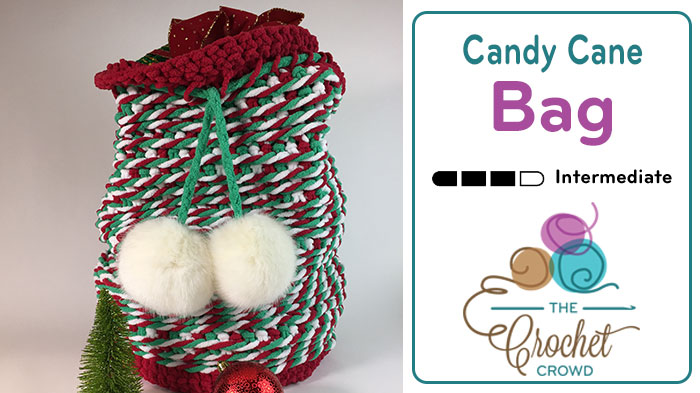 Crochet Candy Cane Santa Bag Pattern