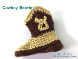 Crochet Cowboy Booties Side View