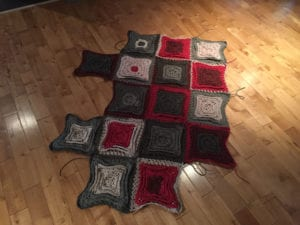 Joining Red Velvet Cake Afghan Squares