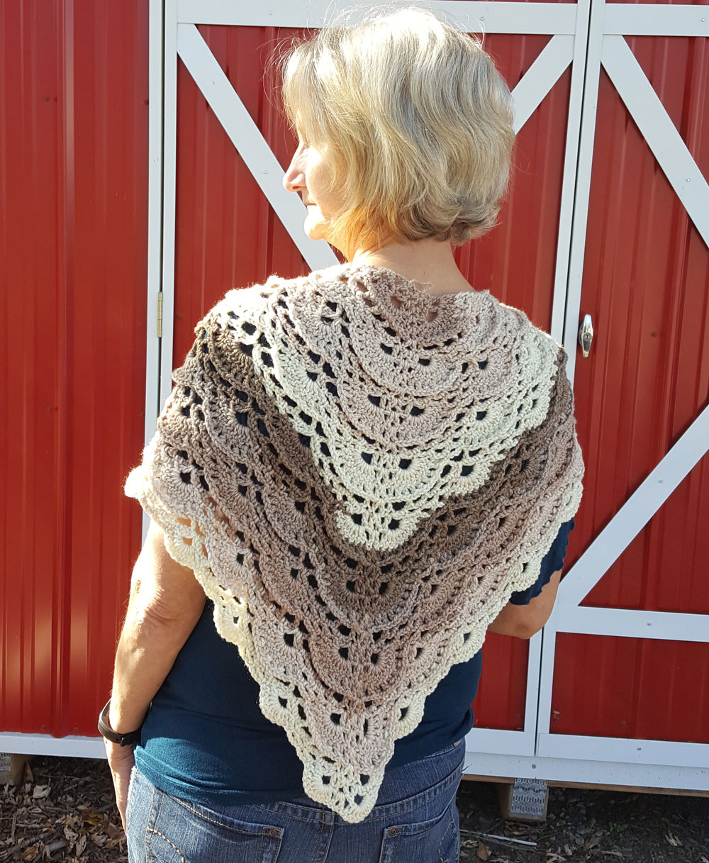 Fluffy Merinque Shawl by Laura Jean Bartholomew, Adapted with Existing Pattern on Yarnspirations.