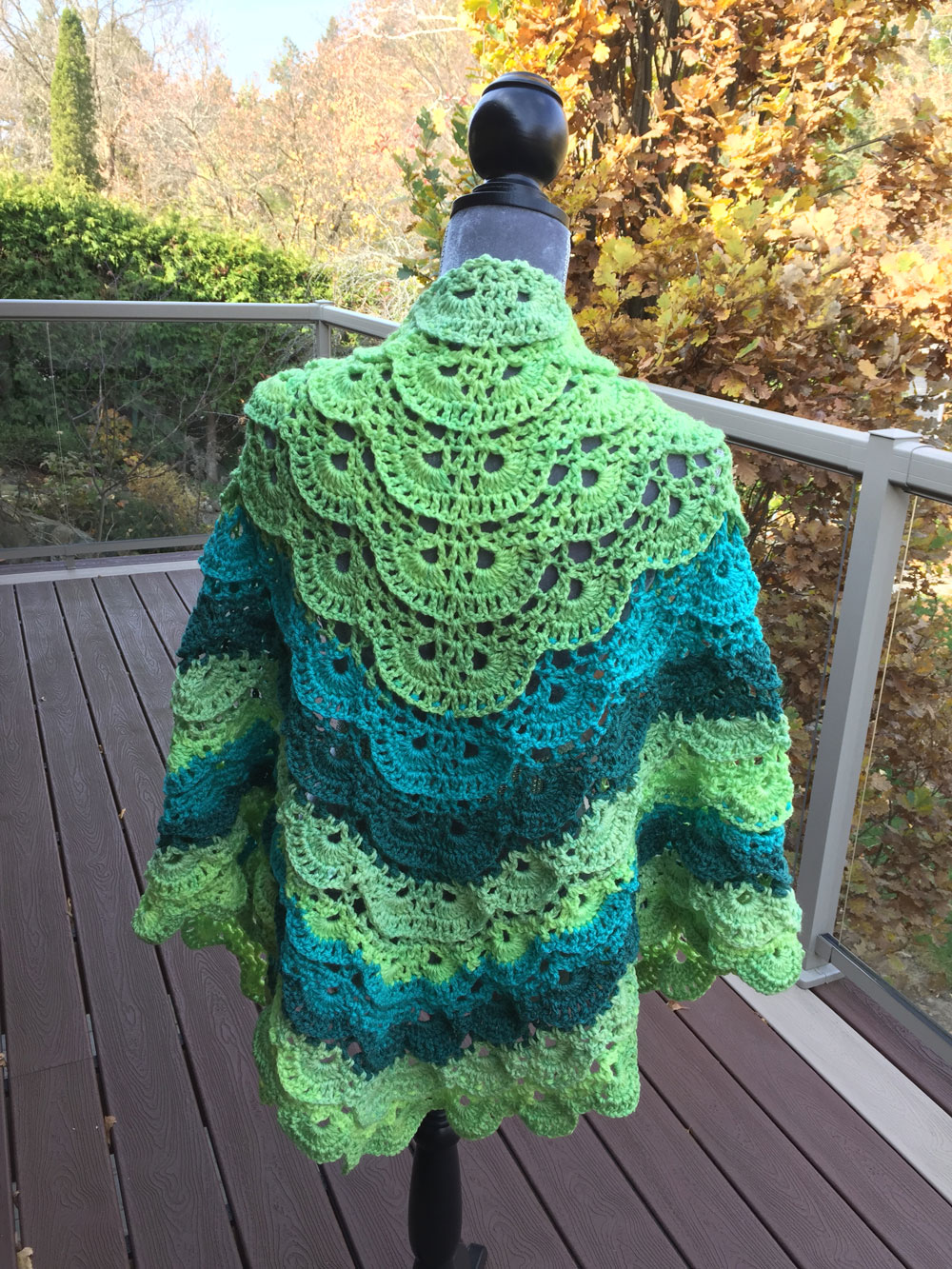 Fluffy Merinque Shawl by Mikey, Adapted with Existing Pattern on Yarnspirations.