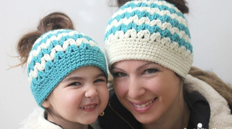 Crochet Messy Bun Hat : Crochet Mommy and Me Messy Bun Hats Repeat Crafter - The Crochet Crowd