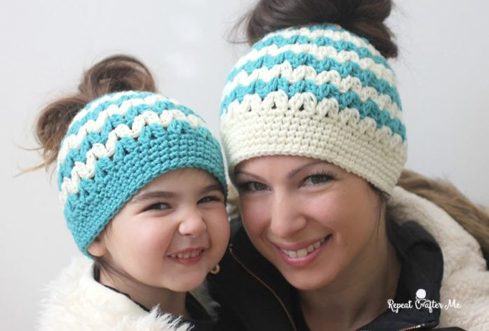 Crochet Mommy and Me Messy Bun Hats Repeat Crafter - The Crochet Crowd