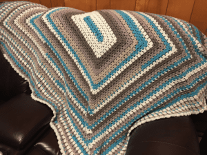 Crochet Modern Rectangle Granny Afghan by Jeanne Steinhilber