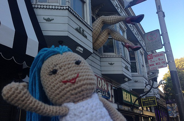 Lily, strolling down Haight and Ashbury!