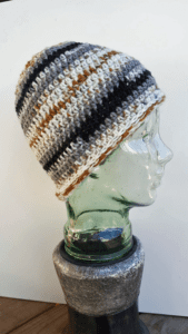 Crochet Mikey's Messy Bun Hat by Laura Jean Bartholomew
