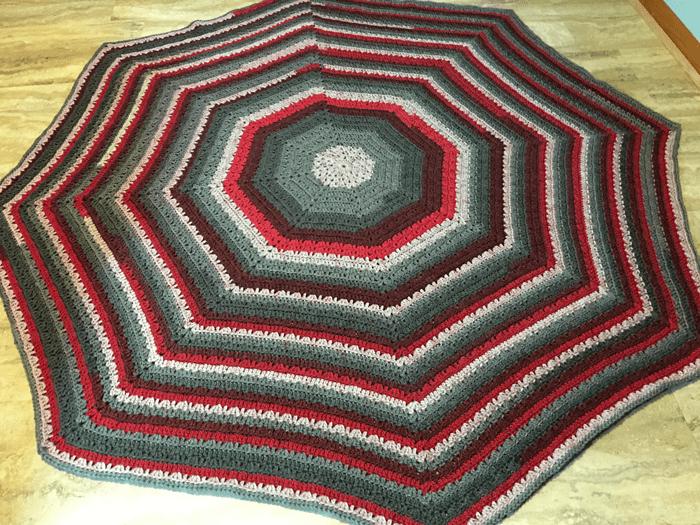 Earthly Tones Octagonal Afghan crocheted by Jeanne Steinhilber