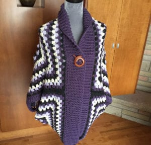 Crochet Blanket Cardigan, crocheted by Mikey