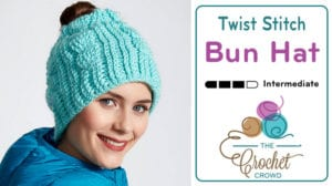 Crochet Twist Bun Hat