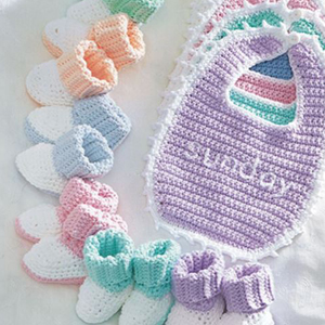 Baby Bibs and Booties A Day Set