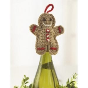 Crochet Gingerbread Man Wine Topper