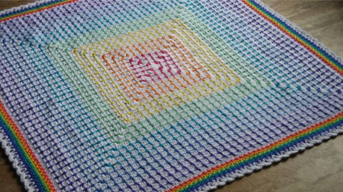Crochet Rainbow Baby Blanket by Jeanne Steinhilber