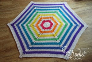Hexagon Rainbow Newborn Blanket crocheted by Jeanne Steinhilber