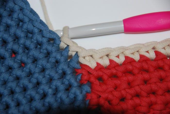 Crochet Patriotic Summer Tote Bag by Jeanne Steinhilber