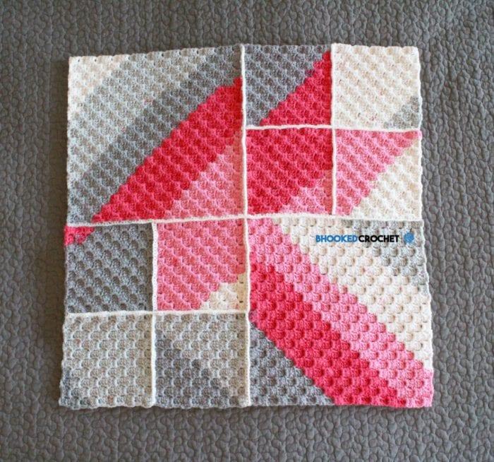 Crochet Geometric Baby Blanket Full View