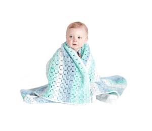 Crochet Baby Blanket using Caron Baby Cakes