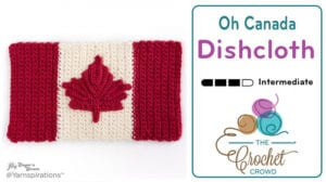 Crochet Canada Flag Dishcloth