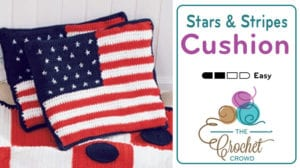 Crochet Stars and Stripes Cushion