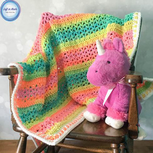 20 Unicorn Stripes Baby Blanket
