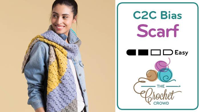 Crochet C2C Bias Scarf + Tutorial