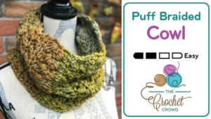 Crochet Puff Braided Cowl