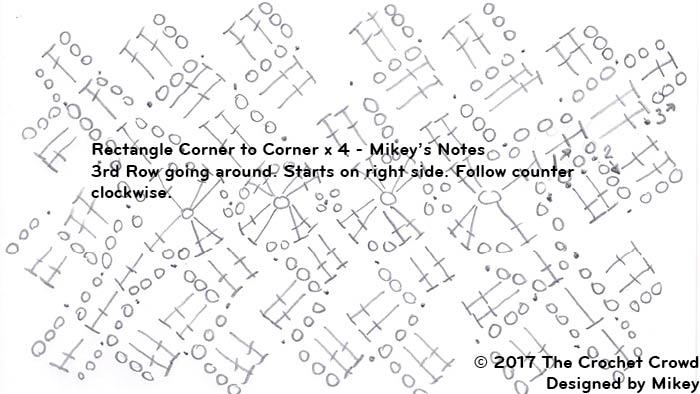 Corner to Corner C2C x 4 Rectangle Diagram