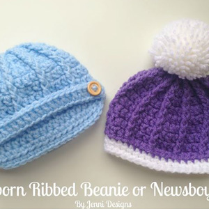 14 Newborn Ribbed or Newsboy Hat