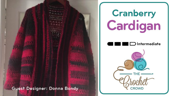 Women's Crochet Cranberry Cardigan
