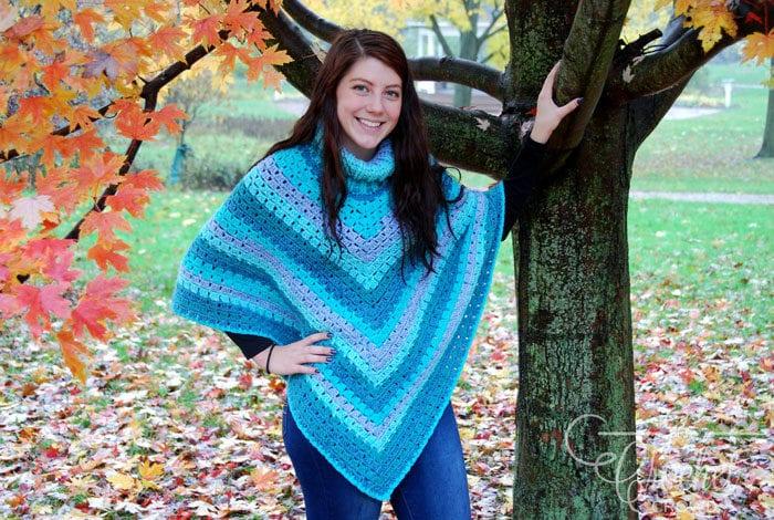 Crochet Modern Granny Winter Poncho by Jeanne Steinhilber
