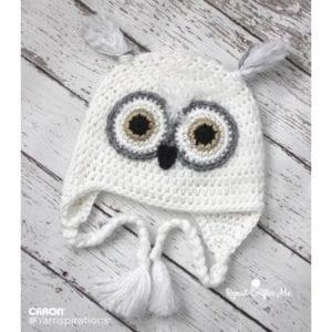 Caron Snowy Owl Crochet Hat