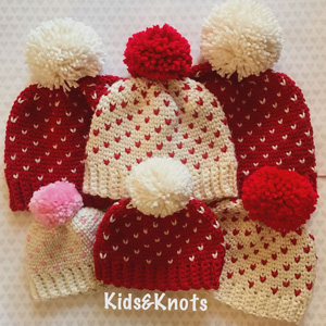 1 Mini Heart Knit Look Hat