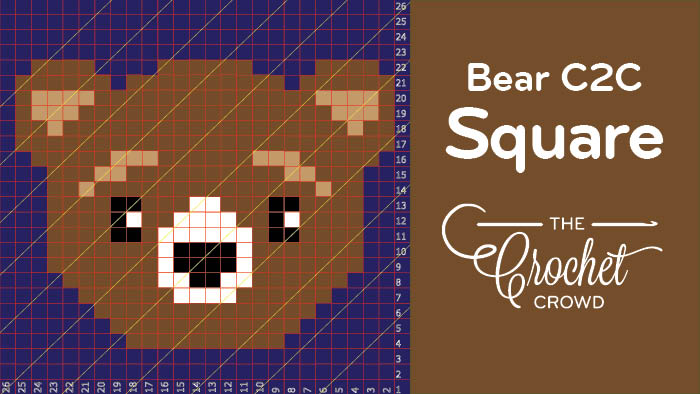 Crochet C2C Bear Square