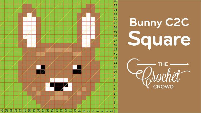 Crochet C2C Bunny Square