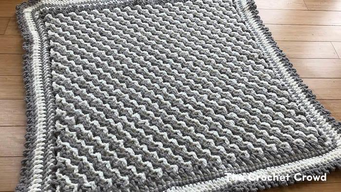 Mosaic Crochet Baby Blanket Zig Zag Design