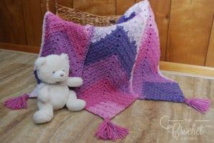 Crochet Triple Mitered MG Baby Blanket by Jeanne Steinhilber