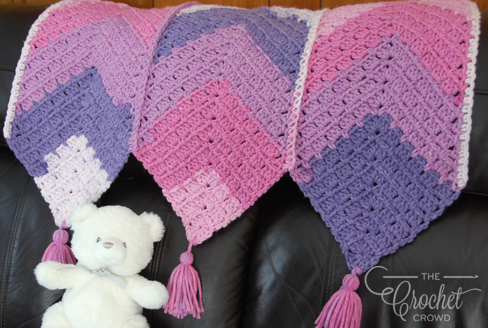 Crochet Triple Mitered MG Baby Blanket by Jeanne Steinhilber