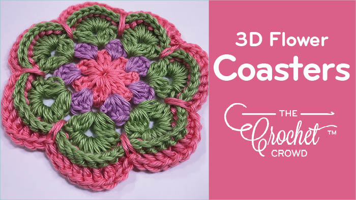 Crochet 3D Flower Coasters Pattern