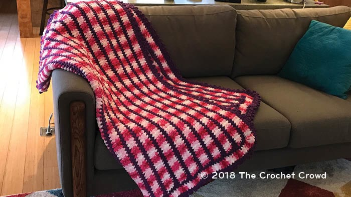 Crochet Candy Link Blanket Staged