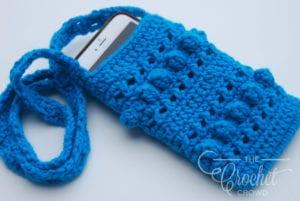 Crochet Hugs & Kisses Cell Phone Sling Bag by Jeanne Steinhilber