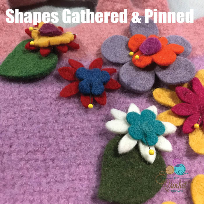 Happy Felted Flower Bag Shapes Pinned