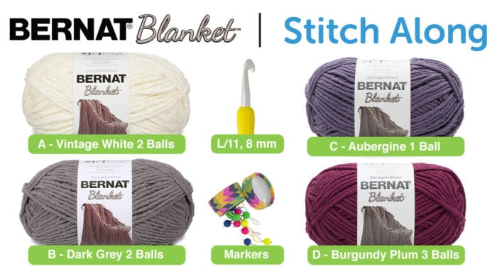 Bernat Blanket Stitch Along - Main Afghan Materials
