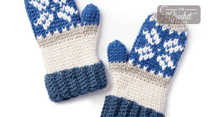 Crochet Fair Isle Mittens + Tutorial