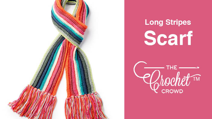 Crochet Long Striped Scarf Pattern