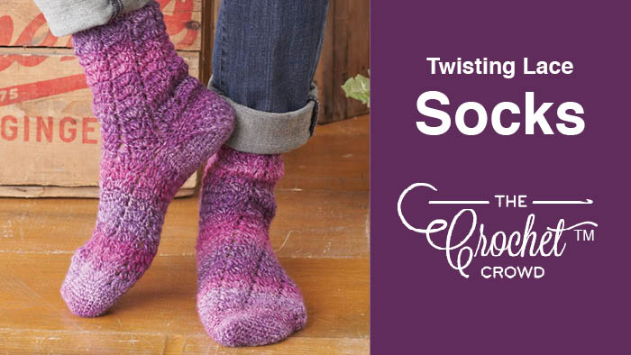 Crochet Twisting Lace Socks Pattern