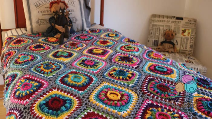 Crochet Boho Ornament Afghan Face Down 2