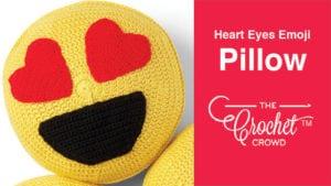 Crochet Heart Eyes Emoji Pillow