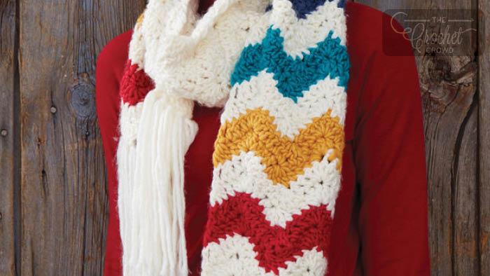 Crochet Mountain Peaks Scarf