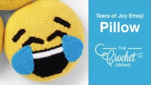 Crochet Tears of Joy Emoji Pillow