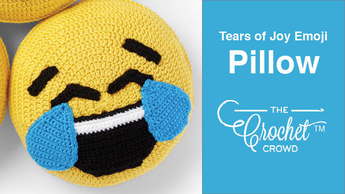 Crochet Tears of Joy Emoji Pillow