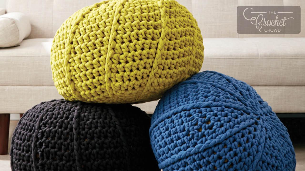 Crochet Ridge Stitch Pouf Pattern